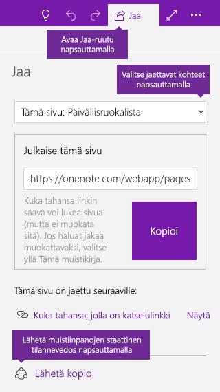 Näyttökuva OneNote-muistiinpanojen kopion lähettämisestä