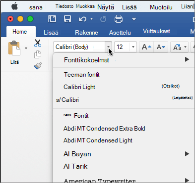 Valitse Wordissa, voit muuttaa tekstin kirjasinta avattavassa fontti.