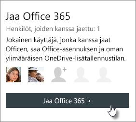 """Näyttökuva """"Jaa Office 365-osa Oma tili-sivu, jolla näkyy tilaus on jaettu 1 henkilön kanssa."""