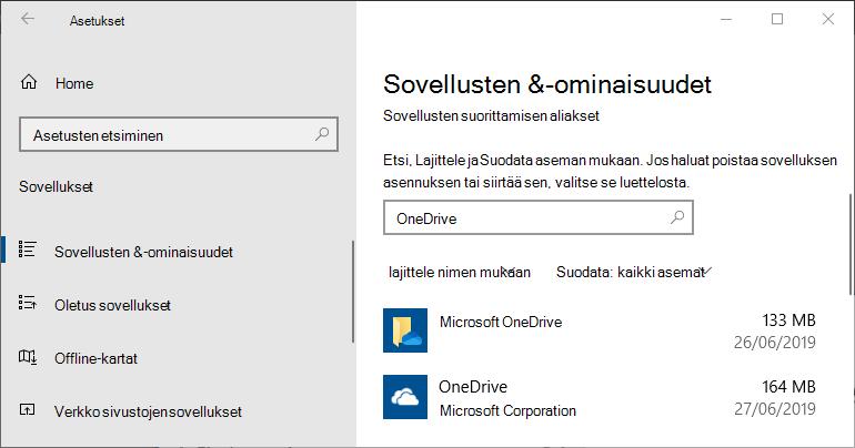 Windowsin OneDriven sovellusasetukset