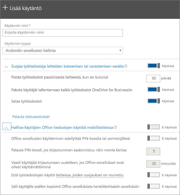 Näyttökuva Luo käytäntö -kohdasta, jossa Androidin sovellusten hallinta valittuna