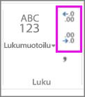 desimaalien lisääminen tai vähentäminen luvun muotoilussa