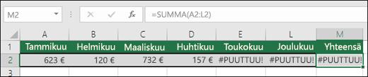 Esimerkki soluihin syötetystä #PUUTTUU-funktiosta, joka estää SUMMA-kaavaa laskemasta oikein.