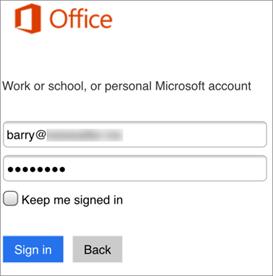 Kirjoita Skype for Business -nimi ja salasana.