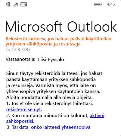 Windows Phonen rekisteröitymissähköposti