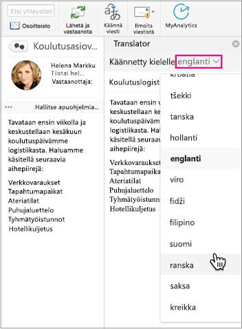 Valitse avattavasta luettelosta kieli, jolle käännät viestisi
