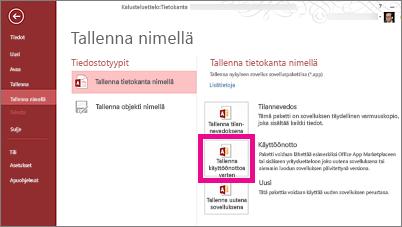 Tallenna nimellä-sivun käyttöönoton Tallenna-vaihtoehto