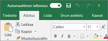 Excelissä oleva otsikkorivi, jolla näkyy Automaattinen tallennus -vaihtoasetus