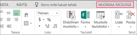 Avaa Excelissä -painike