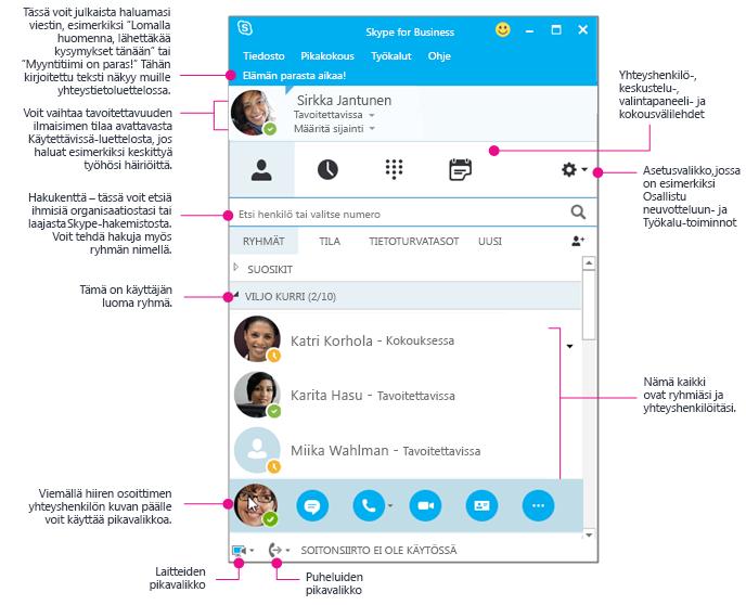 Skype for Businessin Yhteystiedot-ikkuna, graafinen esitys