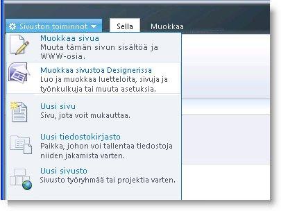 SharePoint Designer 2010:n Sivuston toiminnot -valikko