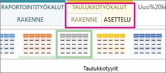 Taulukkotyylit-ryhmä Taulukkotyökalujen Rakenne-välilehdessä