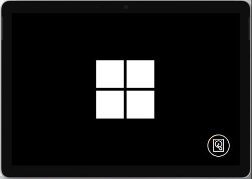 Musta näyttö, jossa on Windows-logo ja näyttövälimuistikuvake.