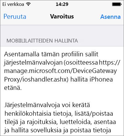 Profiilivaroituksen asentaminen iPhonella