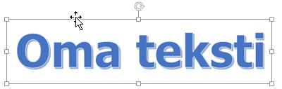 WordArt, jossa on nelipäinen nuolikohdistin