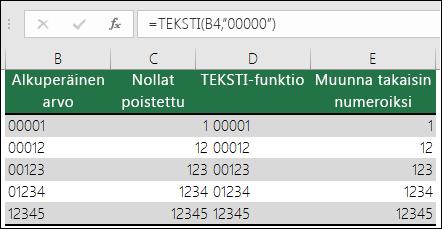 """Esimerkkejä TEKSTI-funktion käyttämisestä etunollien muotoilemiseen: =TEKSTI(A2,""""00000"""")"""