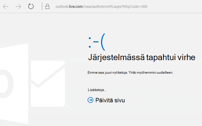 Outlook.comin Jokin meni vikaan -virhekoodi 500
