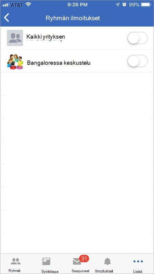 iOS Yammer-sivulla ryhmät, jos haluat saada ilmoituksia valitsemiseen