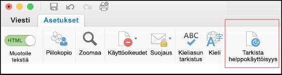 Näyttökuva Outlookin käyttöliittymän kohdasta, jossa avataan helppokäyttöisyyden tarkistus