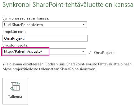 Kuva: synkronoi uuteen SharePoint-sivustoon