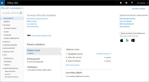 Esimerkki siitä, miltä Office 365 -hallintakeskus näyttää, kun käytössäsi on Skype for Business Online -palvelupaketti.
