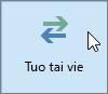 Näyttökuva Outlook 2016:n Tuo/vie-painikkeesta