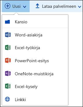 Uuden tiedoston luominen tiedostokirjastoon Office 365:ssä