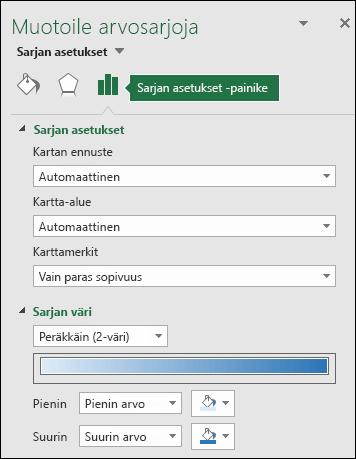 Excelin karttakaavion Muotoile objekti -tehtäväruudun Sarjan asetukset