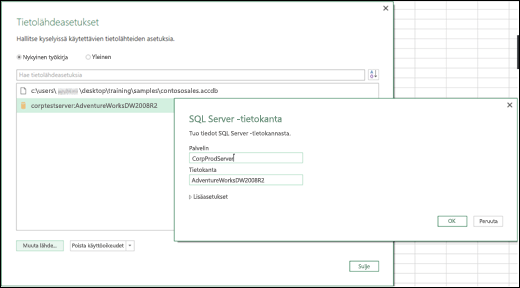 Excelin Power BI Tietolähdeasetusten parannukset