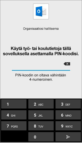 Määritä Androidin Outlook-sovelluksen PIN-koodi.