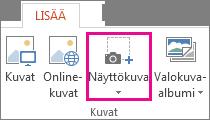 Näyttökuva-asetus PowerPointin Kuvat-ryhmässä