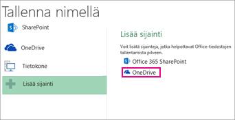 Tallenna OneDriveen -vaihtoehto