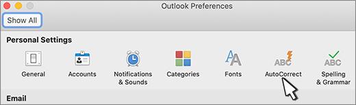 Outlook for Macin automaattinen korjaus-painike