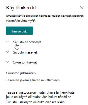 Sivuston käyttöoikeudet -ruutu