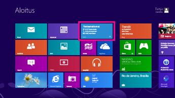 Näyttökuva Windowsin aloitusnäytöstä, jossa Lync-ruudun tilapäivitykset on korostettuna