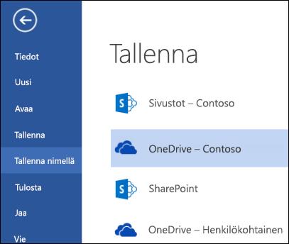 OneDrive for Businessin kansio, kun tiedosto avataan tai tallennetaan