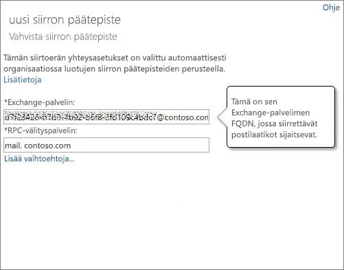 Outlook Anywheren päätepisteen varmistettu yhteys.