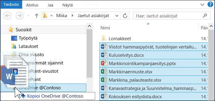 Vedä tiedostot synkronoitavaan OneDrive for Business -kansioon latautumista varten.