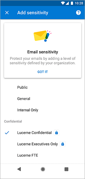 Näyttö kuva luottamuksellisuusmerkinnöistä Outlook for Androidissa