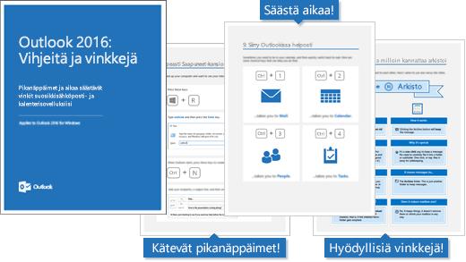 Outlook 2016:n vihjeitä ja vinkkejä -sähköisen kirjan kansi, sisäsivuilla muutamia vinkkejä