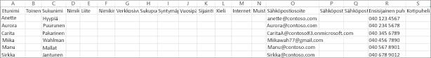 Tässä on esimerkki CSV-tiedostosta, jossa on joitakin yhteystietoja.