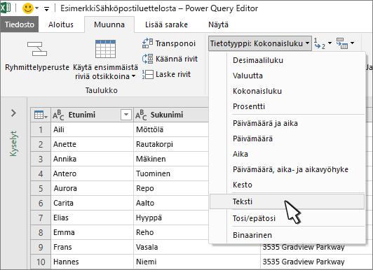 Power Query -ikkuna, jossa on valittuna Teksti