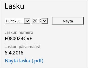 Näyttökuva Office 365:n hallintakeskuksen Laskun tiedot -sivun Lasku-osasta.