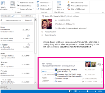 Outlook Social Connector laajentamisen jälkeen