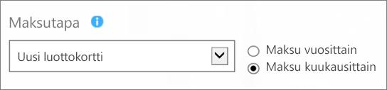 Näyttökuva Miten haluat maksaa? -sivun Maksutapa-kohdasta, jossa kohdat Uusi luottokortti ja Maksa kuukausittain on valittu.