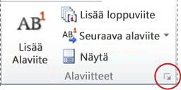 Word 2010:n Ala- ja loppuviite -valintaikkunan avain