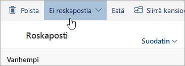 Näyttökuva Ei roskapostia -painikkeesta