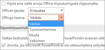Näyttää Office-teema-asetukset PowerPoint 2016:ssa