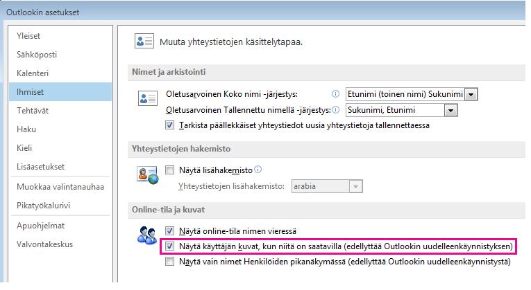 Näyttökuva Outlookin Asetukset-ikkunasta, Ota valokuvat käyttöön -valintaruutu korostettuna
