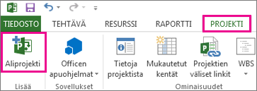 Projectin valintanauha, jossa näkyy Lisää aliprojekti -komento.